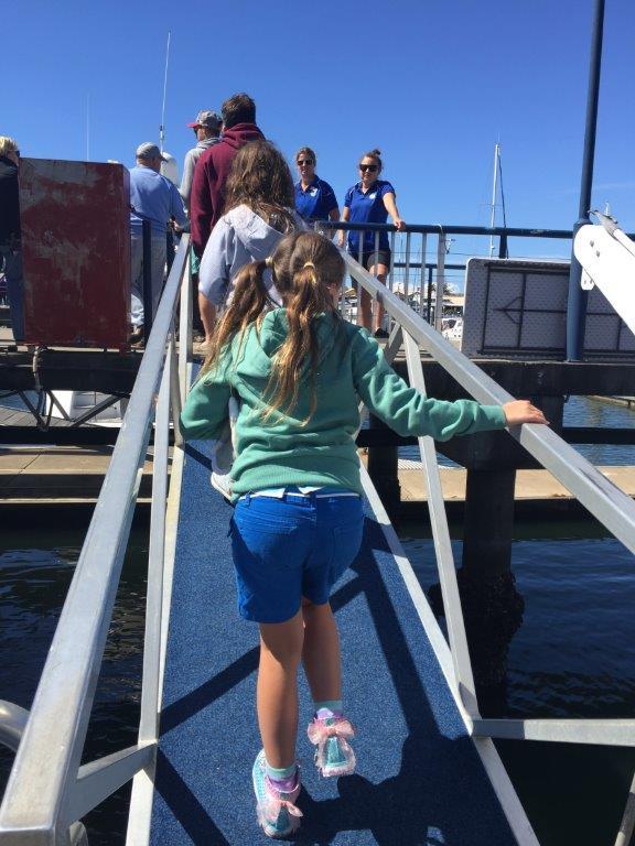 Disembarking along the ramp
