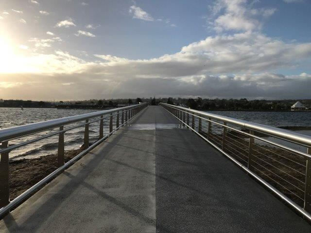 The Lakes Entrance footbridge leads from the town to the beach