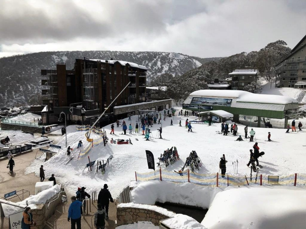 Falls Creek features a beautiful snowy village