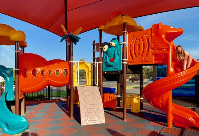 The outdoor playground was very colourful and safe