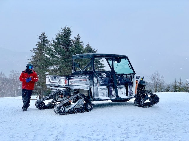 A snow buggy tour takes you out into the forest