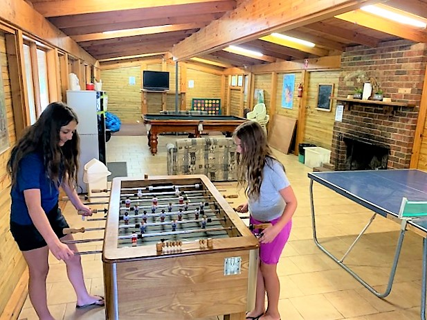 The recreation room has lots of family games