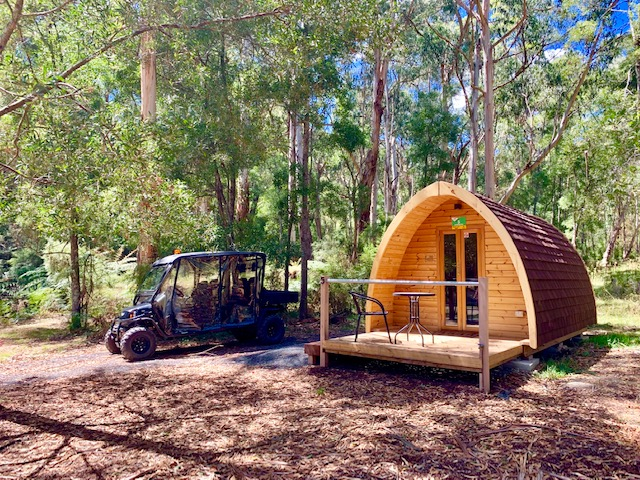 Pods are cosy timber cabins that come with a buggy!