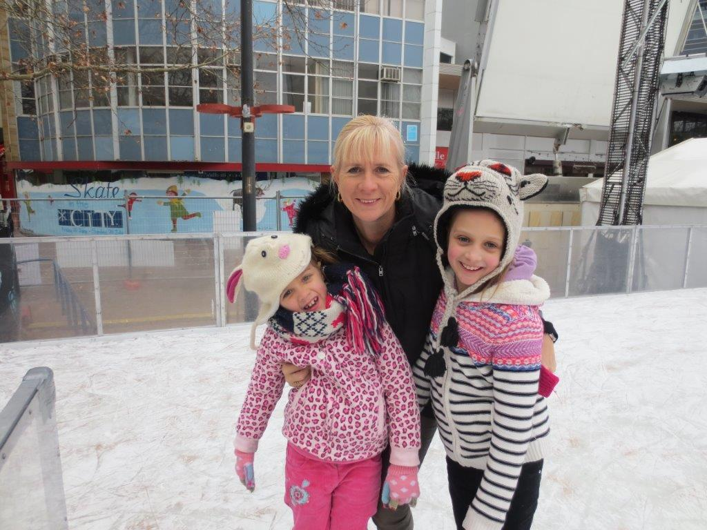 Us having fun at Skate in the City - be sure to rug-up for warmth!