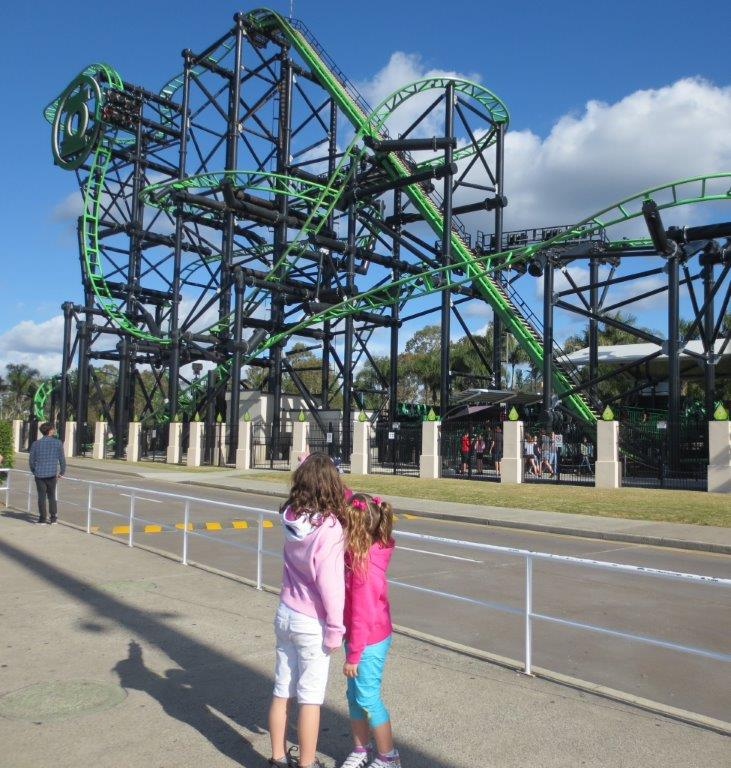 Brooke and Samantha discuss the pros and cons of the Green Lantern roller coaster