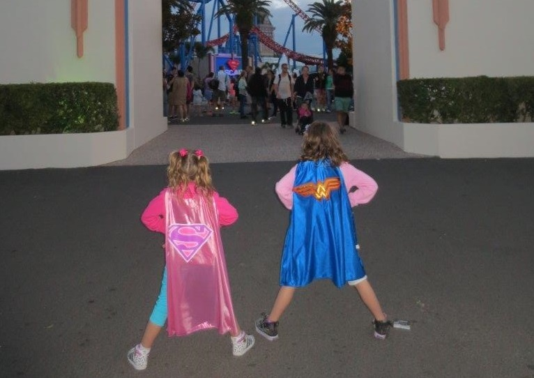 Job done! Super Samantha and Wonder Brooke survey the scene of their final theme park conquest