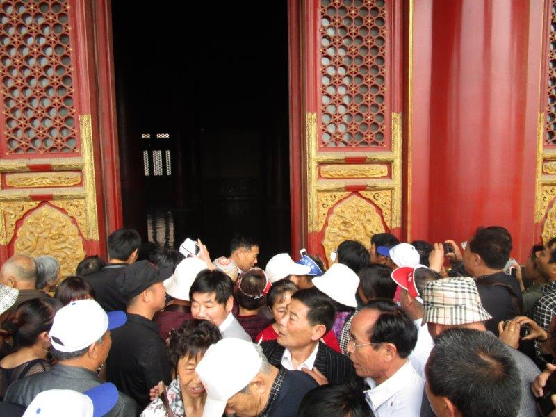 Forbidden City crowds can almost lift you off your feet - keep a tight hold of the kids