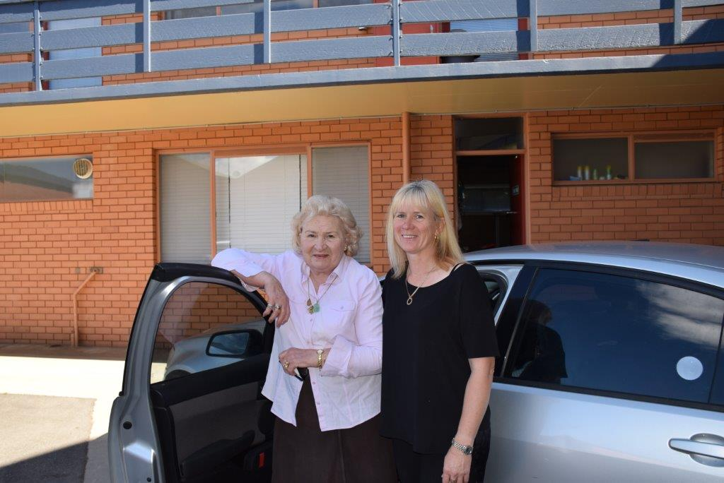 We're ready to hit the road - my Mum and I (with the kids already buckled in!)