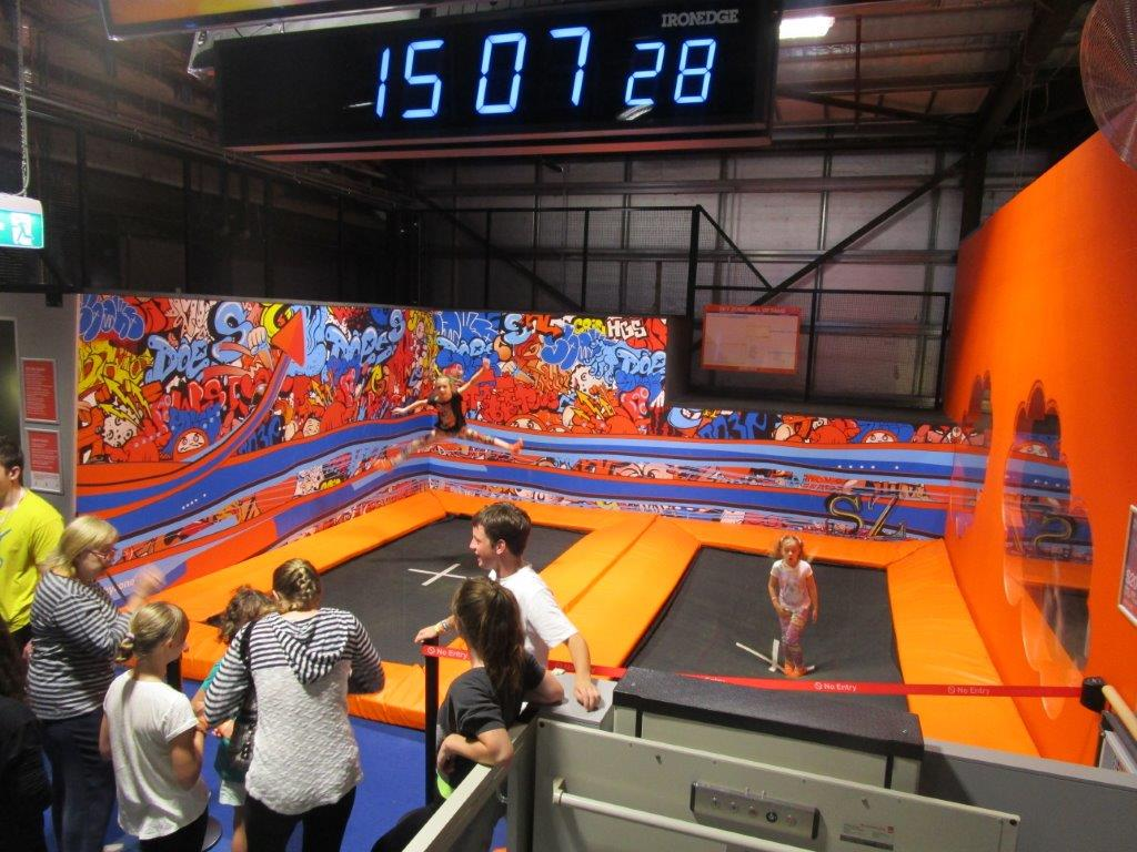 The high-bounce performance trampolines - great fun...until the teens took over