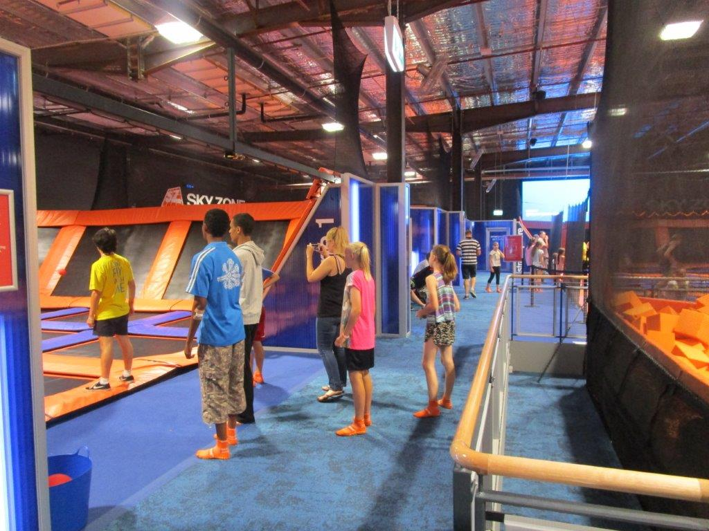 Skyzone Trampoline Park Canberra - the walkway between the different jumping areas