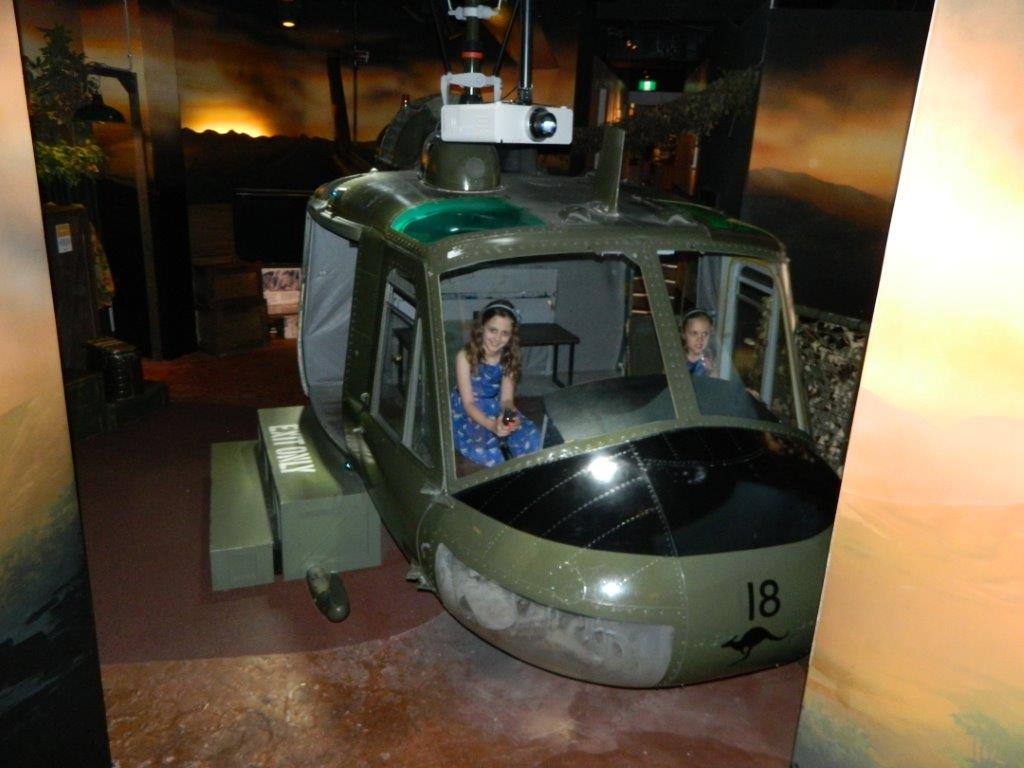 Children can take the controls of an Iroquois helicopter - a film plays in front!
