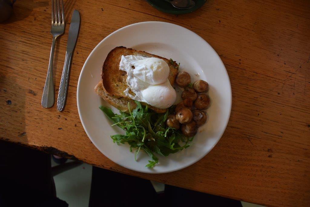 Kafe Kaos's poached eggs with mushrooms - heaven!