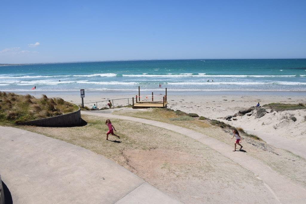 The Port Fairy beach is a beautiful place to swim and play