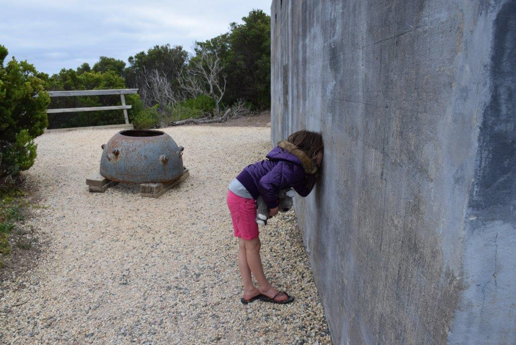The kids found learning heaps of fun at Cape Otway's Lightstation! Here is the WW2 Bunker
