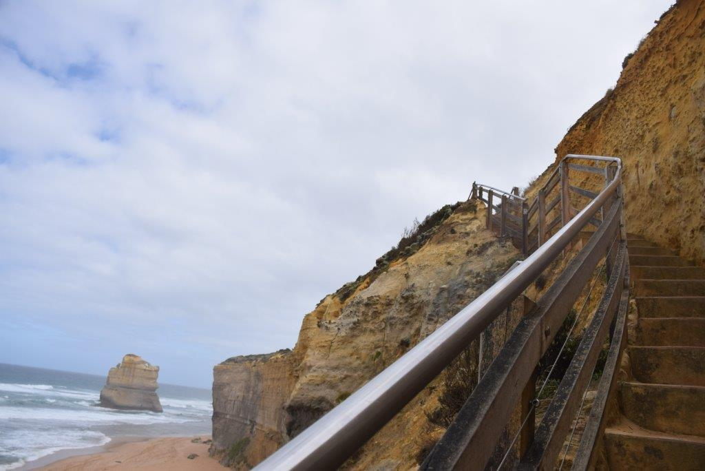 The Gibson Steps lead down to the only 12 Apostles beach accessible at the moment