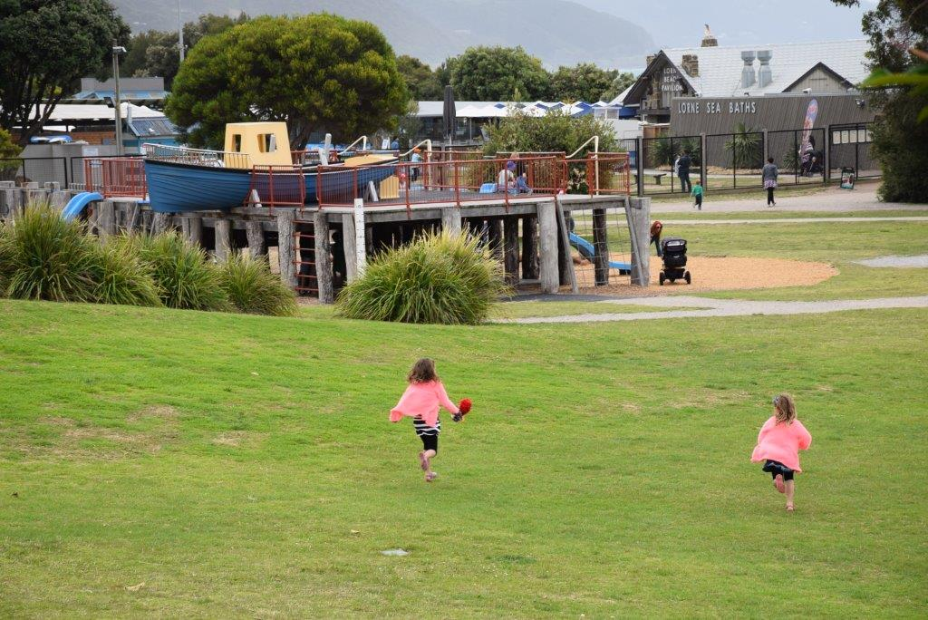 Off to the playground - Lorne has lots for kids to do!