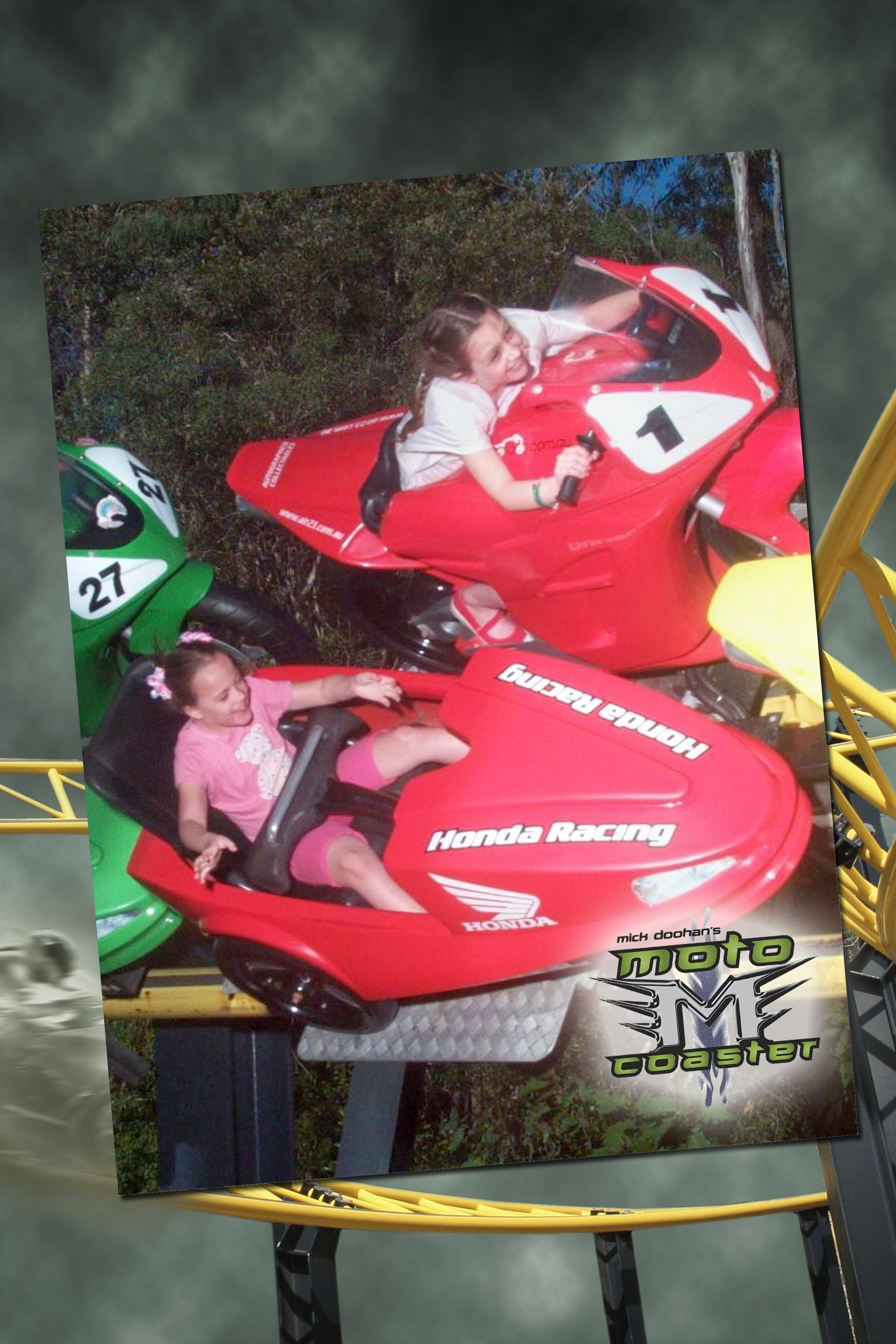 Sister act - the girls adored the rocket-fast Mick Doohan Motorcycle ride!