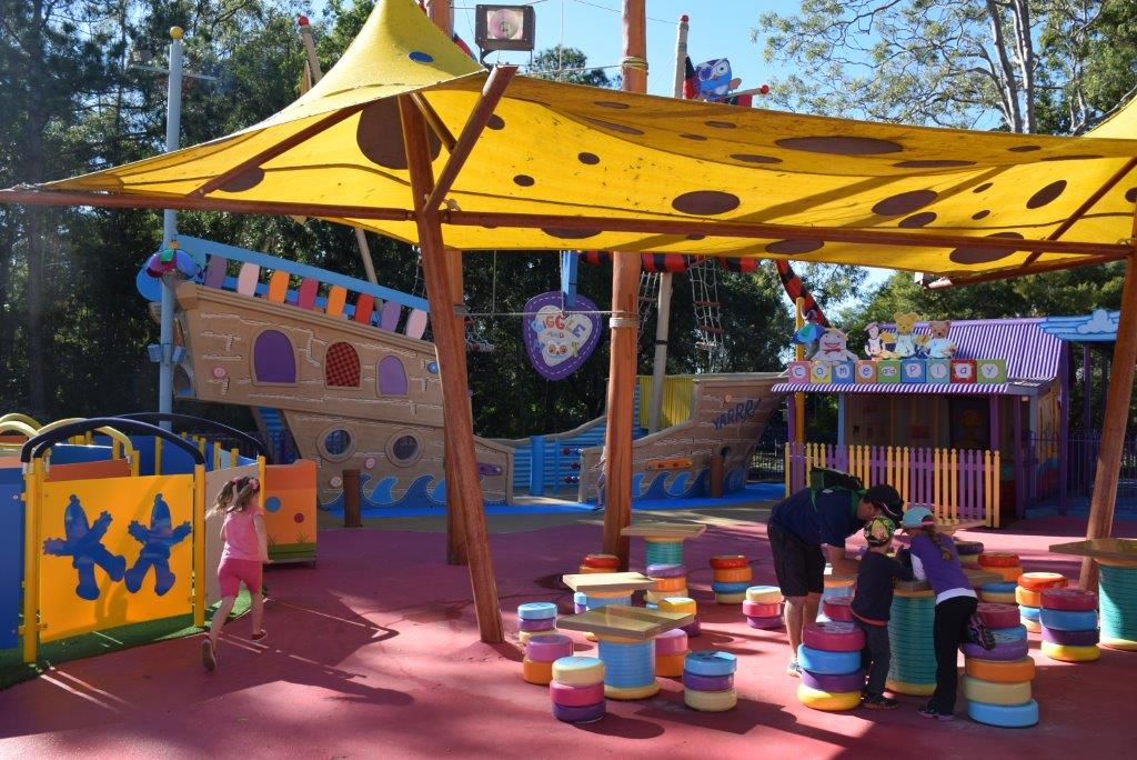 The Giggle and Hoot pirate ship behind - there are plenty of places for a food-stop at ABC Kids World