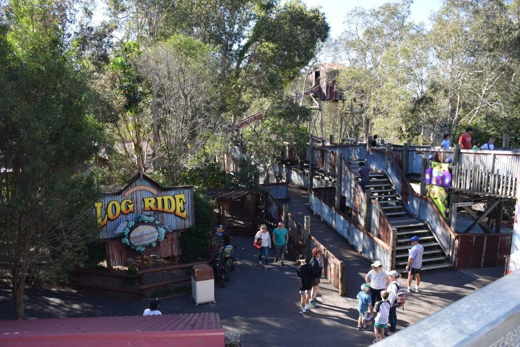 Over the bridge to the classic Log Ride - such fun for families!
