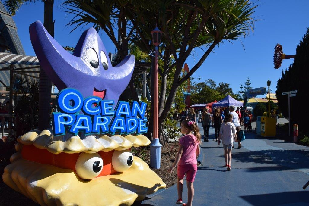 Off down Ocean Parade to seek our next Dreamworld adventure - The Cyclone!