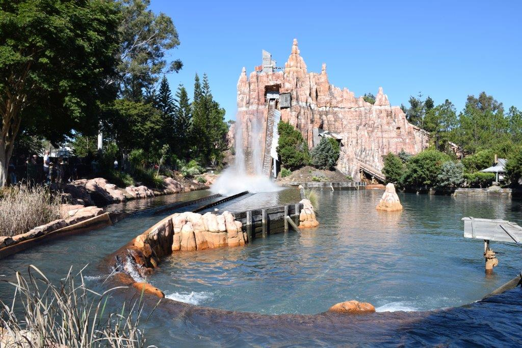 The Wild West River ride has a big plunge at the end!
