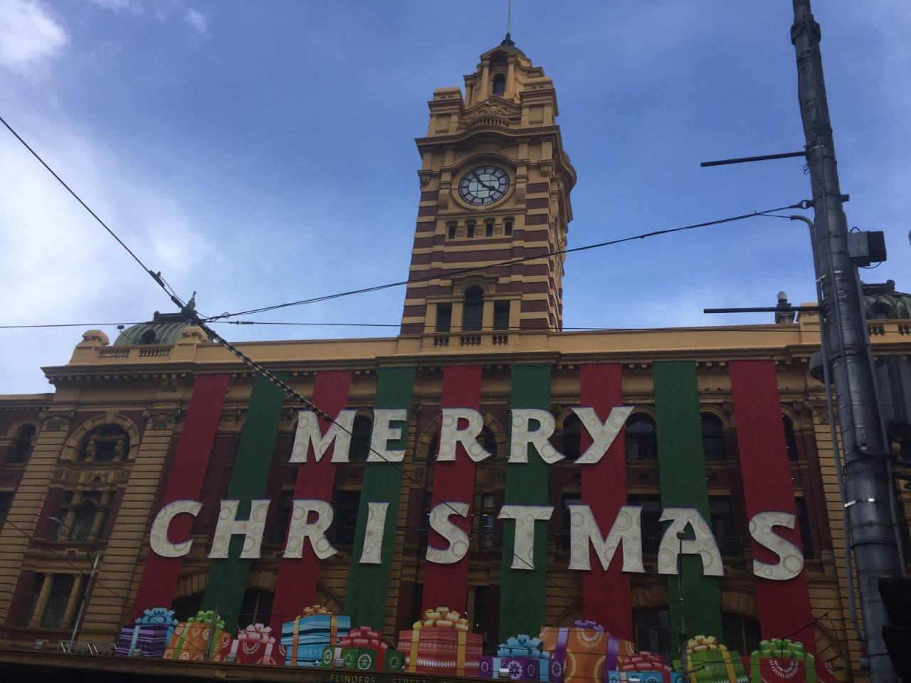 A beautifully decorated Flinders Street Station