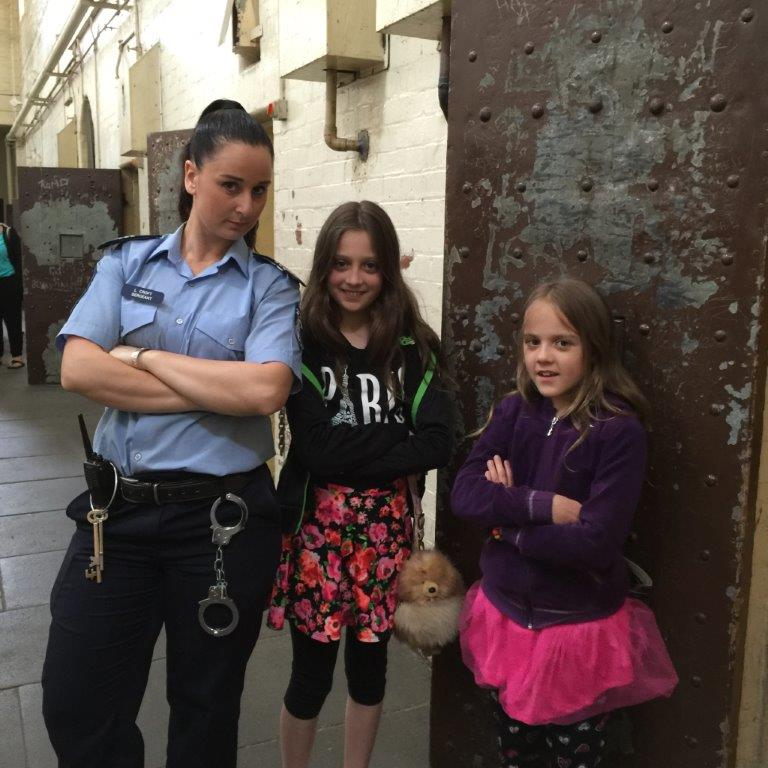 Samantha (right) was still a little nervous of our arresting Police officer at the end of our tour!