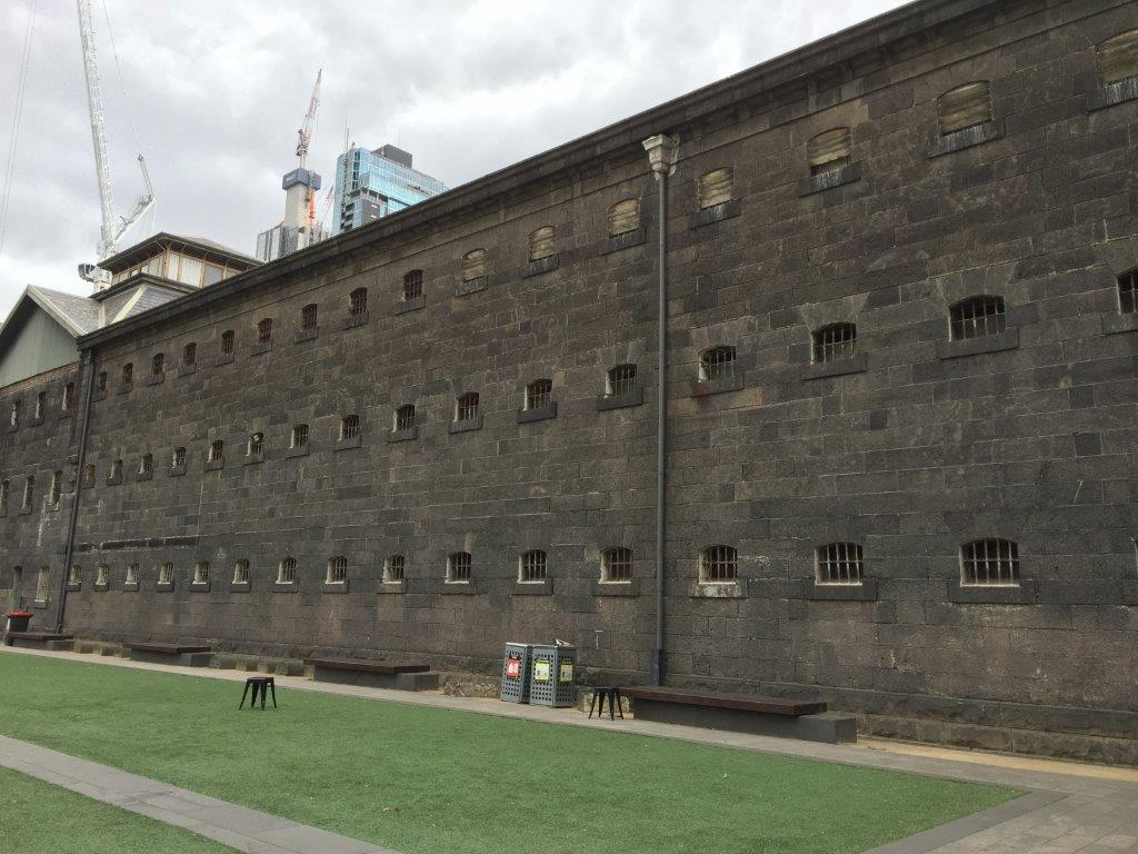 One of the immense outer walls of the Old Melbourne Gaol