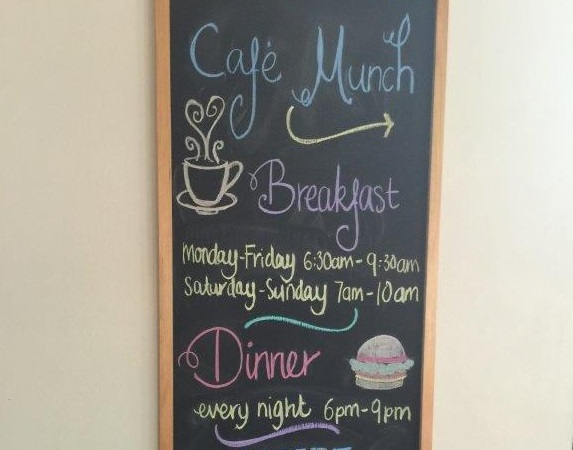 There's no need to go out for dinner - the Café Munch restaurant has a great range of meals