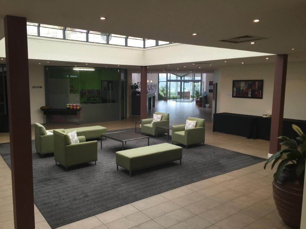 The large reception area has welcoming, elegant seating