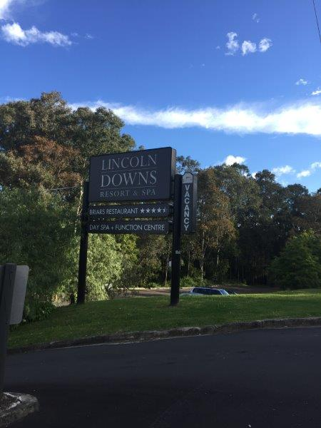 Licoln Downs Spa Resort sign