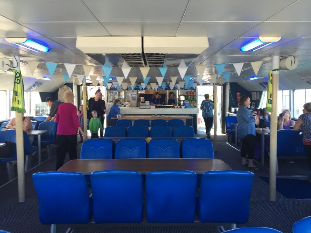 The main inside cabin was spacious, with a canteen at one end