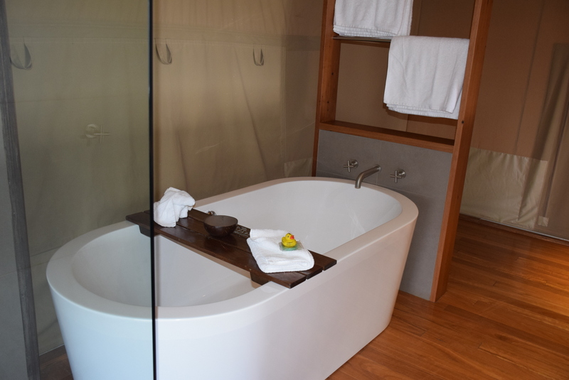 The double bath featured a rolled towel elephant and tiger-striped duck!