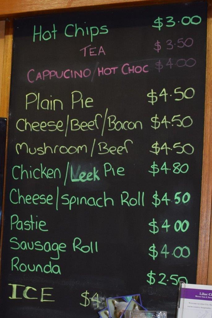 So yummy - the Wombeyan Caves kiosk food menu