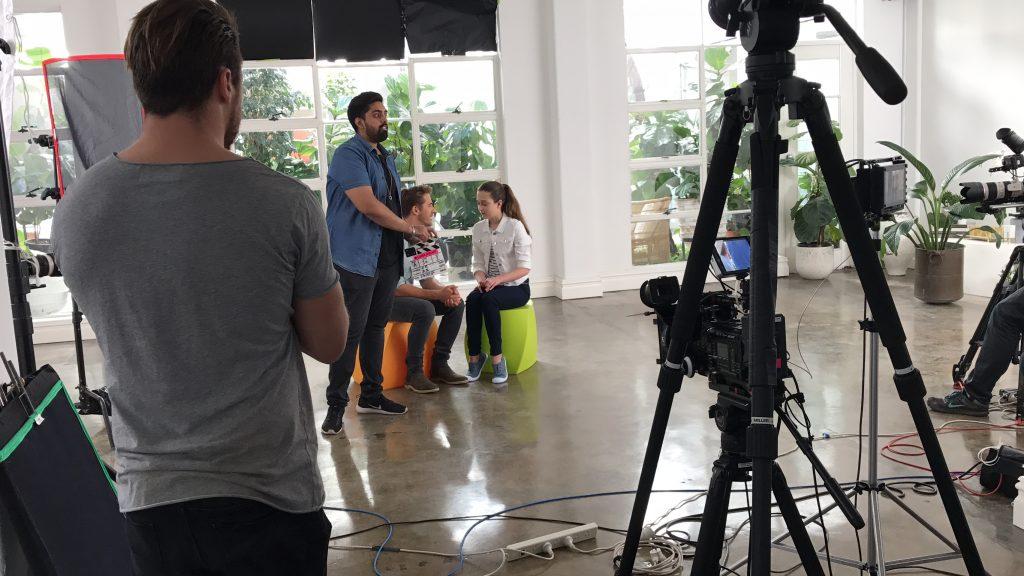 Hugh Sheridan and Brooke on the set with Nestle