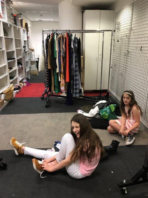 Getting changed in the massive accessories closet