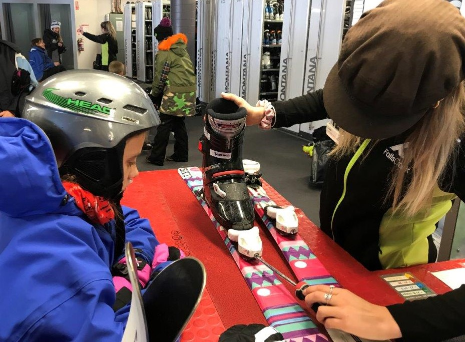 Fitting downhill boots and skis at Homebase, Falls Creek