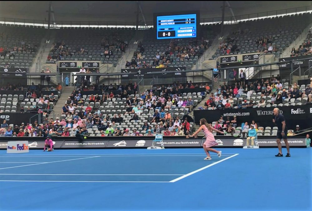 Centre Court - Samantha trying to return Lleyton Hewitt's serve!