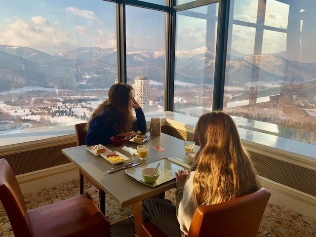 A delicious breakfast with a stunning view