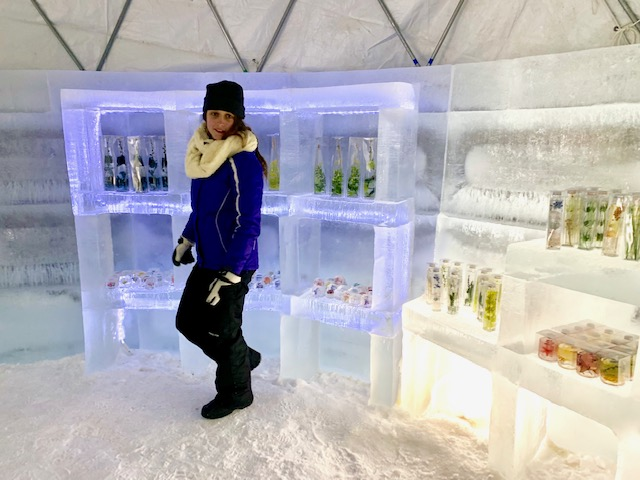 The Tomamu Ice Village shops have ice shelves