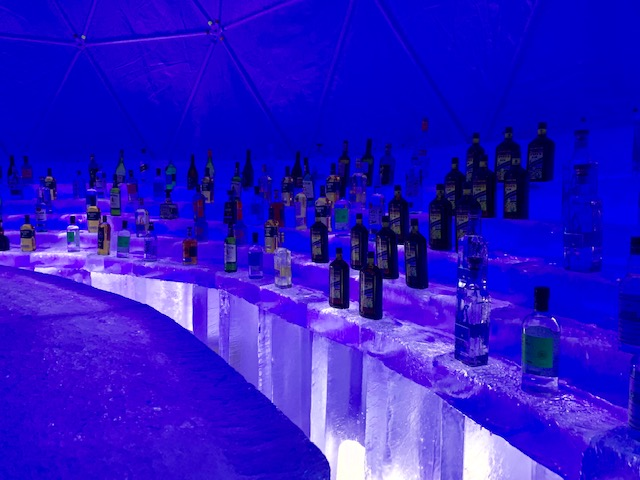 The Ice Bar serves all kinds of cocktails