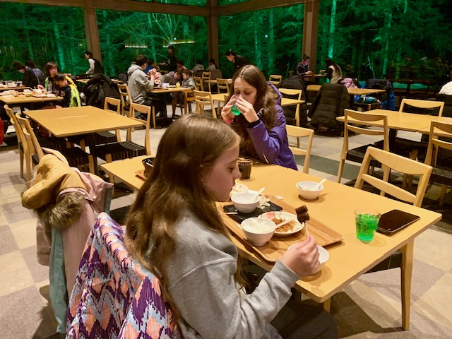 The Forest Restaurant Nininupuri is surrounded by beautifully lit trees