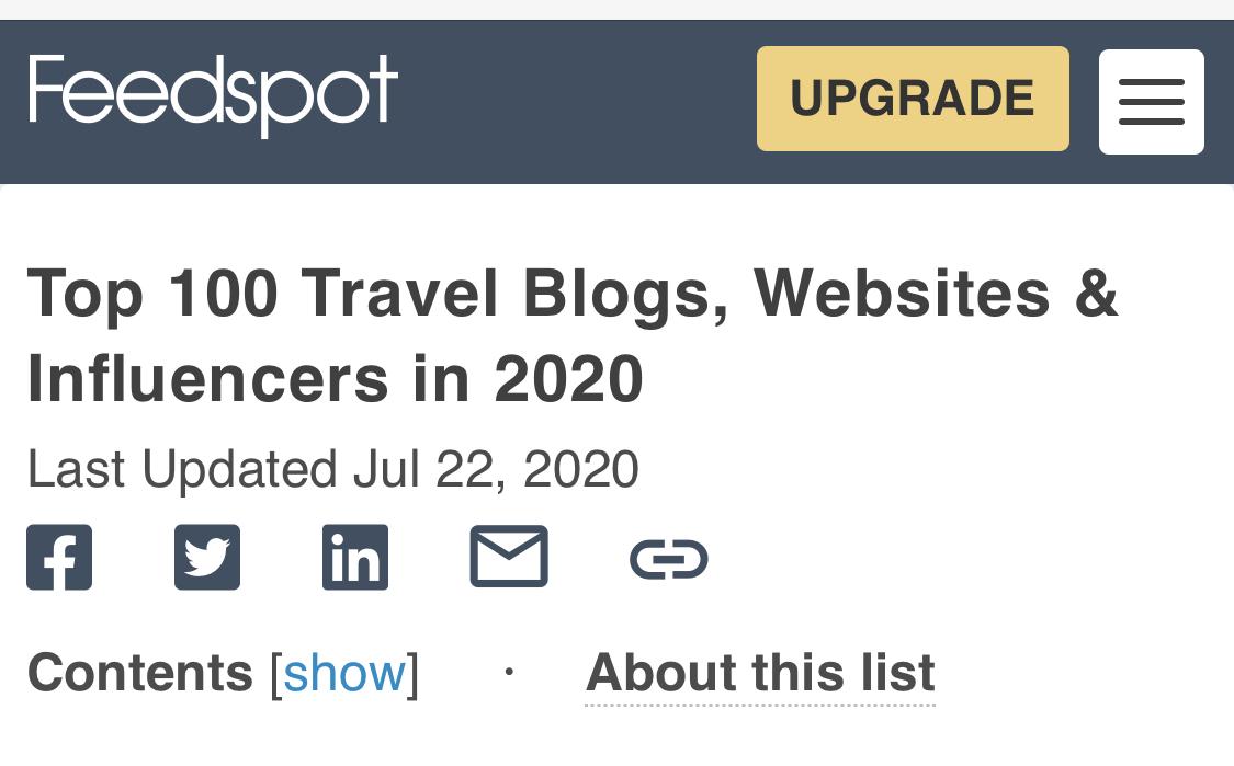 Top travel blogs list