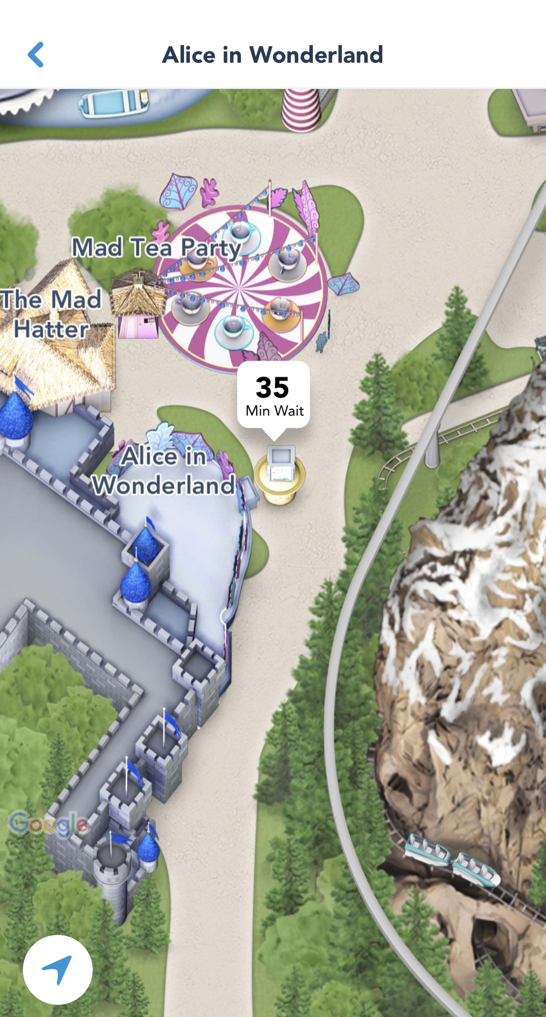 The Disneyland App shows you ride wait times