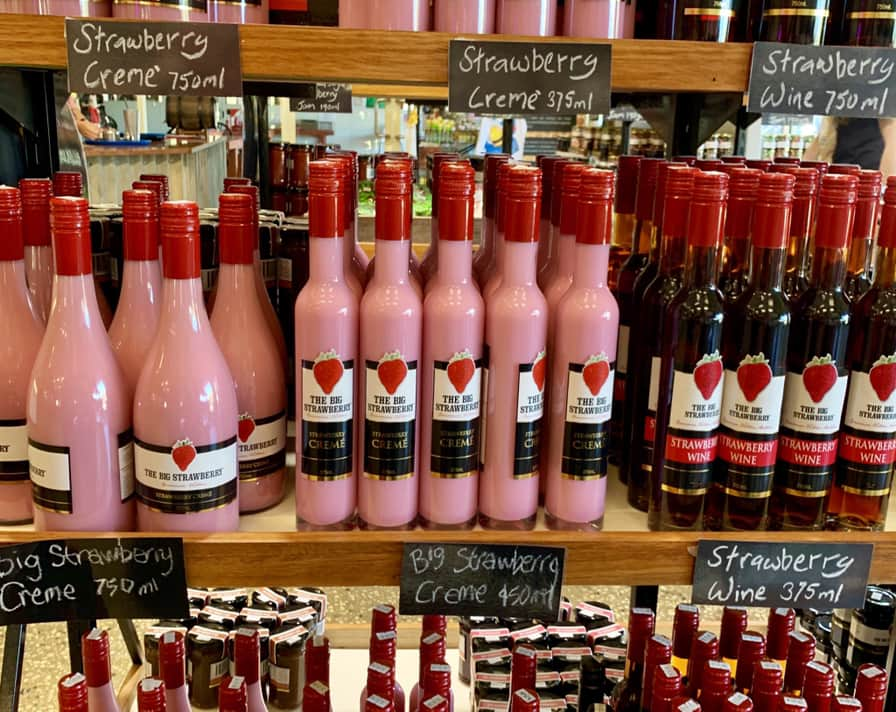 The Big Strawberry strawberry crepe and strawberry wine are famous