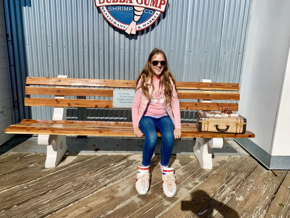 Try on the shoes outside Bubba Gump, Santa Monica Pier