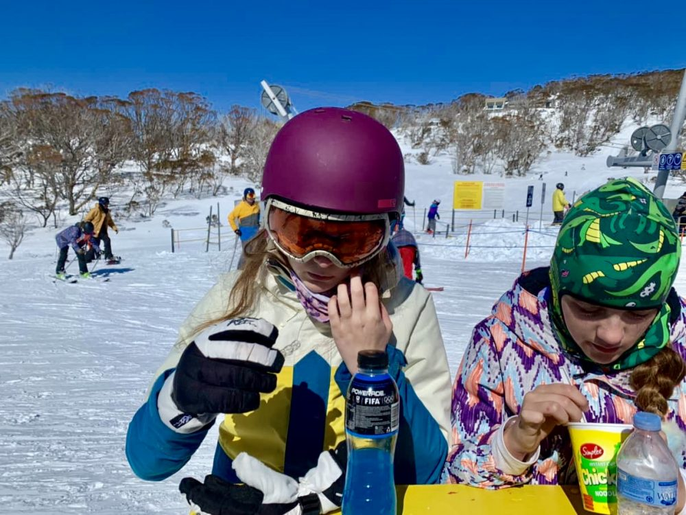 It's okay to remove your face covering to eat at Perisher