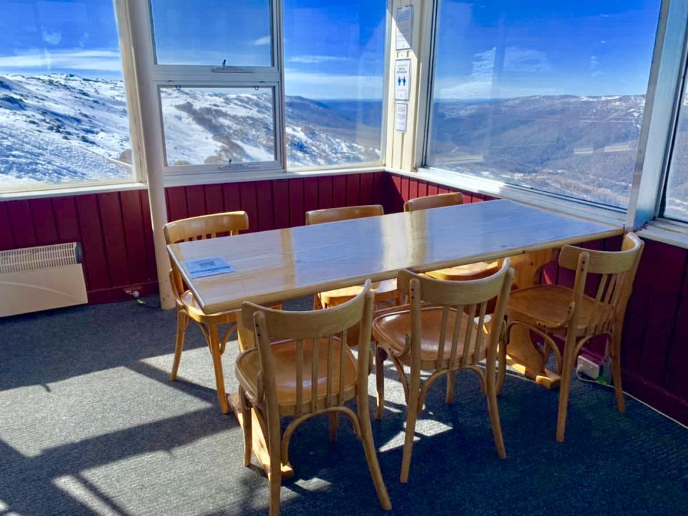 Tables are well spaced apart (Eagles Nest Restaurant, Thredbo)