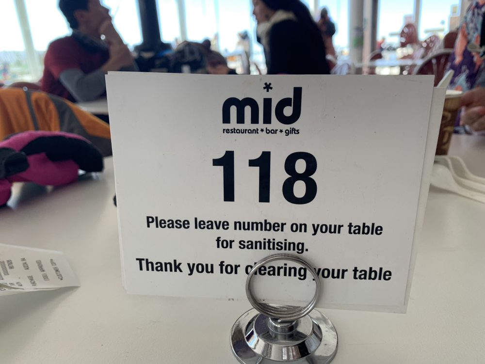 Social distancing systems are in place in mountain restaurants