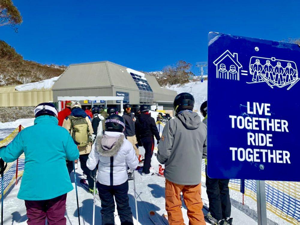Socially distanced ski queues at Perisher Ski Resort